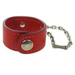 HERMES Key Chain Glove Holder Red Silver Leather